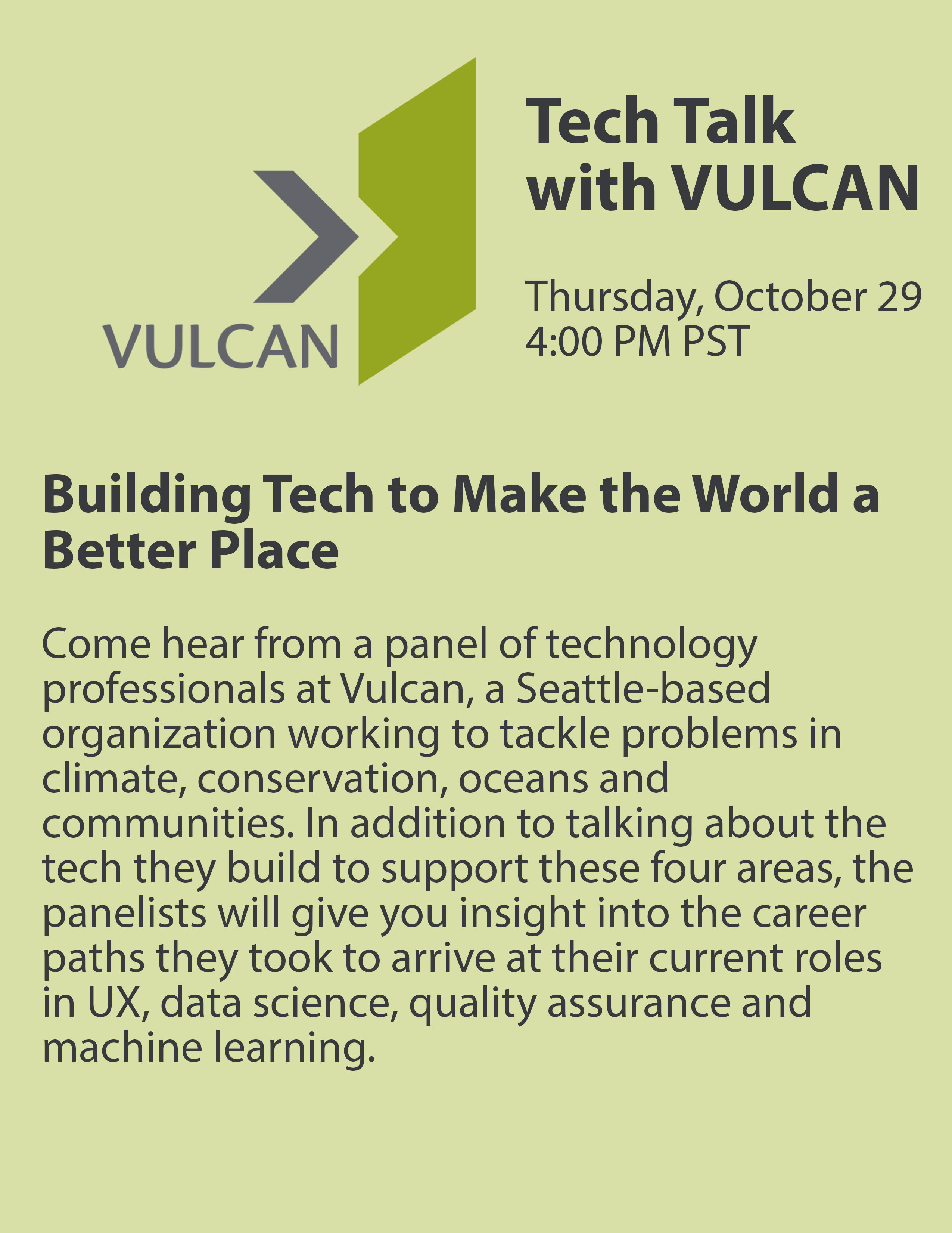 Poster for Tech Talk with Vulcan